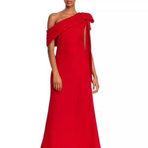 Tadashi Shoji One-Shoulder Crepe Gown Flame Size 8
